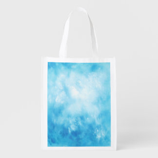 Abstract Hand Drawn Watercolor Background: Blue Reusable Grocery Bag