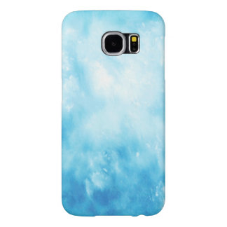 Abstract Hand Drawn Watercolor Background: Blue Samsung Galaxy S6 Cases
