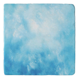 Abstract Hand Drawn Watercolor Background: Blue Trivet