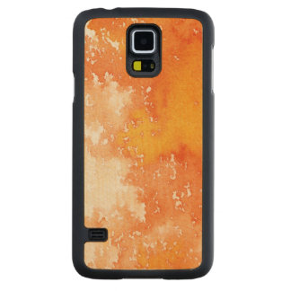 Abstract hand painted watercolor background. 2 carved maple galaxy s5 case