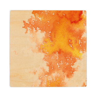 Abstract hand painted watercolor background. 2 maple wood coaster