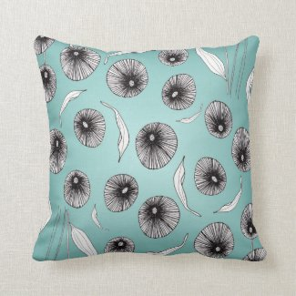 Abstract Handdrawn Poppy Botanical Cushion in Teal