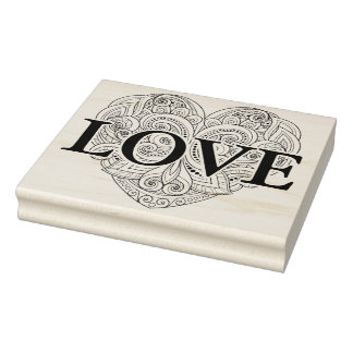 Abstract Heart Doodle Rubber Stamp