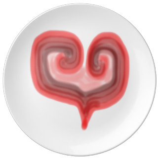 Abstract Heart Large Porcelain Plate