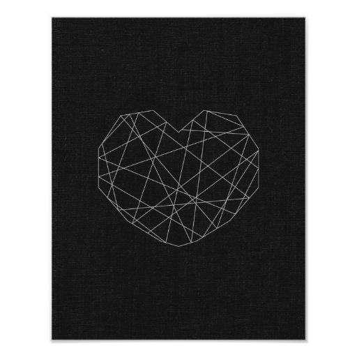 Abstract heart print. Black and white. Modern love