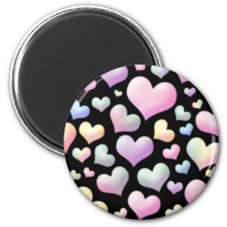 Abstract Hearts 6 Cm Round Magnet