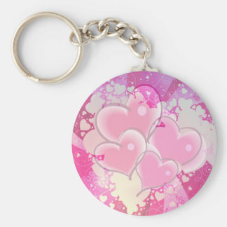 ABSTRACT HEARTS by SHARON SHARPE Basic Round Button Key Ring