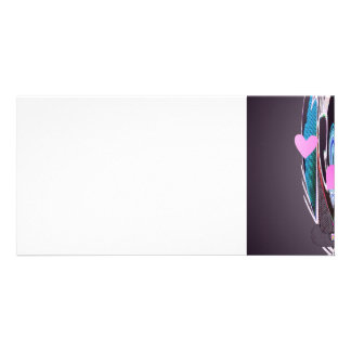 ABSTRACT HEARTS by SHARON SHARPE Personalised Photo Card
