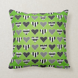 Abstract Hearts on Green Pillows