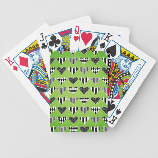 Abstract Hearts on Green Poker Cards