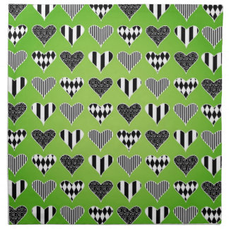 Abstract Hearts on Green Printed Napkin