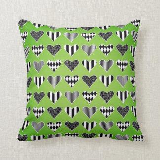 Abstract Hearts on Green Throw Cushions