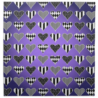 Abstract Hearts on Purple Napkins