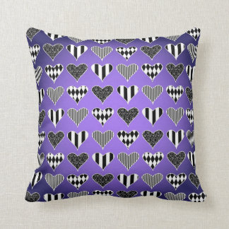 Abstract Hearts on Purple Throw Cushion