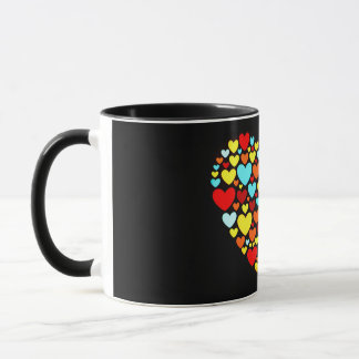 Abstract Hearts Shape in the Dark Mug
