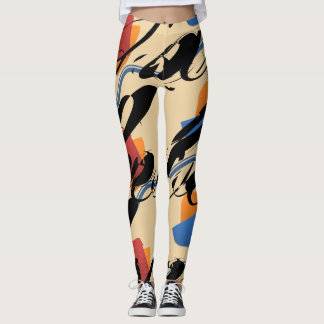"Abstract ""Hello and Farewell"" Eggshell Leggings"