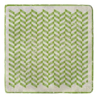 Abstract herringbone in greenery trivet