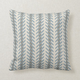 Abstract Herringbone Pattern Warm Grey and Blue Cushions