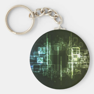 Abstract hi-tech background design basic round button key ring