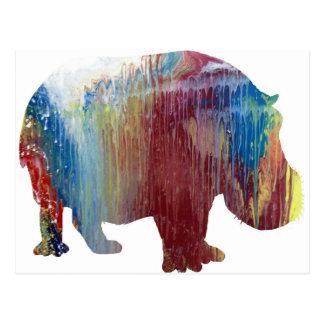 Abstract Hippopotamus silhouette Postcard