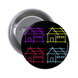 Abstract home for real estate or architecture firm 6 cm round badge