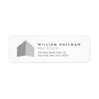 Abstract Home Logo Gray/White Return Address Label