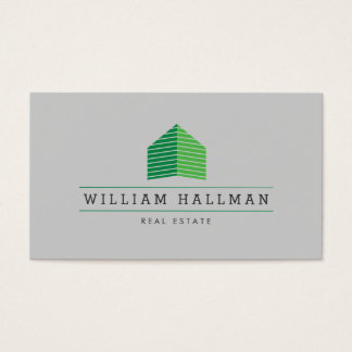 Abstract Home Logo Green/Gray Business Card