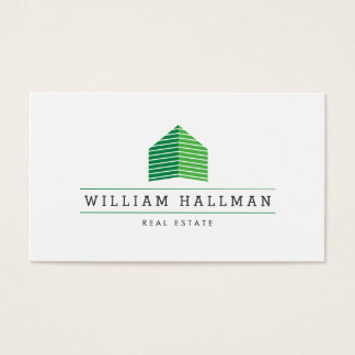 Abstract Home Logo Green/White Business Card