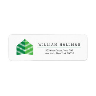 Abstract Home Logo Green/White Return Address Label