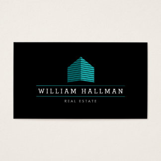 Abstract Home Logo Teal/Black Business Card