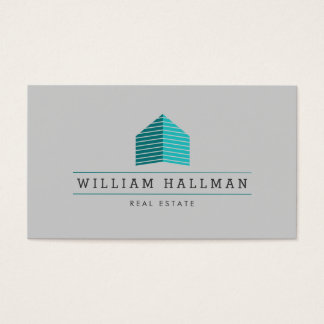 Abstract Home Logo Teal/Gray Business Card