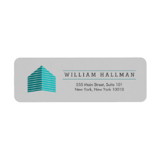 Abstract Home Logo Teal/Gray Return Address Label
