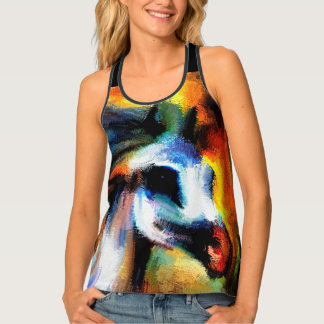 Abstract Horse Art Beautiful Gray White Tank Top