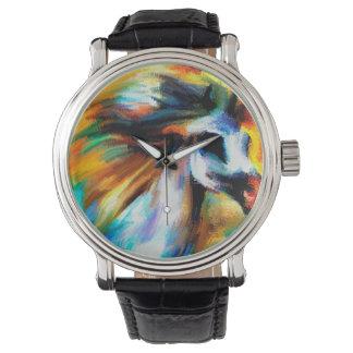 Abstract Horse Art Beautiful White GrayEquine Watch