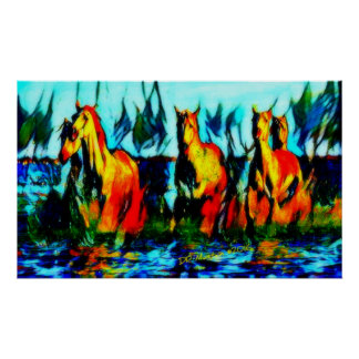 Abstract Horse Art Poster Print from Oil Painting