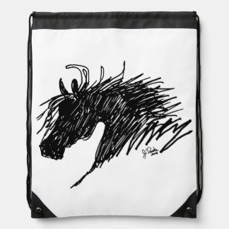 Abstract Horse Head art Drawstring Backpack