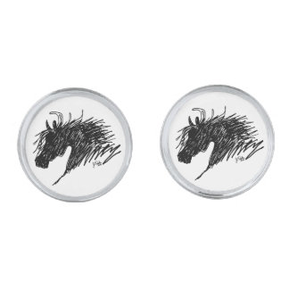 Abstract Horse Head art Silver Finish Cuff Links