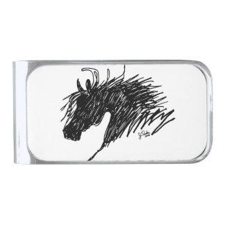 Abstract Horse Head art Silver Finish Money Clip