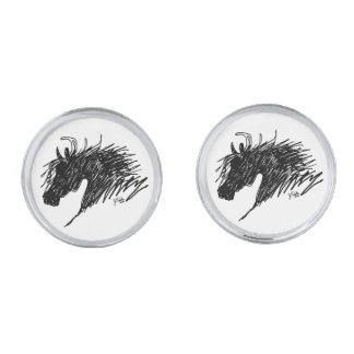 Abstract Horse Head art Silver Finish Cufflinks
