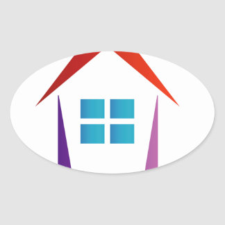 Abstract house with windows oval sticker