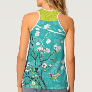 Abstract Hummingbird Floral Pattern Tank Top