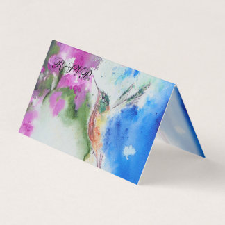 Abstract Hummingbird Folded RSVP Cards