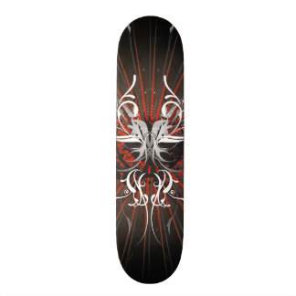 Abstract illustration with floral  motive 21.3 cm mini skateboard deck