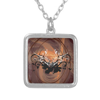 Abstract illustration with floral  motive square pendant necklace
