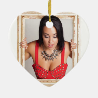 Abstract image of a beautiful woman ceramic heart decoration