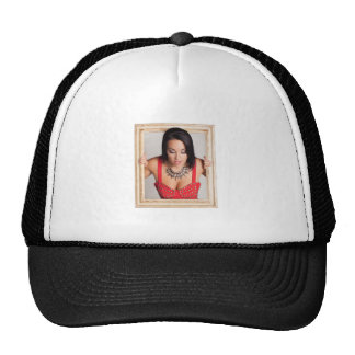 Abstract image of a beautiful woman trucker hats