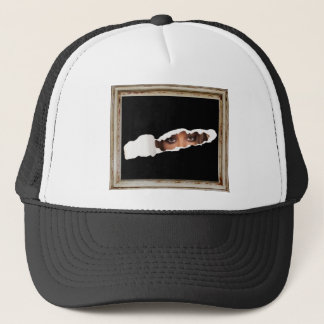 Abstract image of a woman's eyes. trucker hat