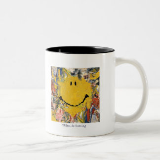 abstract impressionist happy face mug