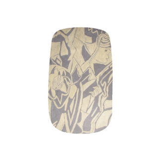 Abstract in Black and Gold Fingernail Transfers