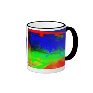 ABSTRACT IN BLUE GREEN RED BLACK ORANGE RINGER COFFEE MUG